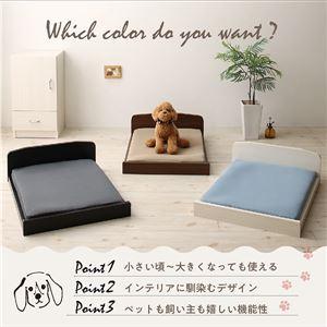 ベッド 【マットレス付】 フレームカラー:ブラウン 寝具カラー:グレー ミニチュアサイズが可愛い木製ペットベッド Catnel キャトネル