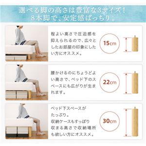 マットレスベッド ダブル 脚15cm ボンネルコイルマットレス マットレスカラー:アイボリー ベーシック脚付きマットレスベッド
