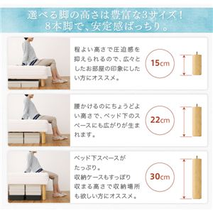 マットレスベッド セミシングル 脚22cm ボンネルコイルマットレス マットレスカラー:アイボリー ベーシック脚付きマットレスベッド