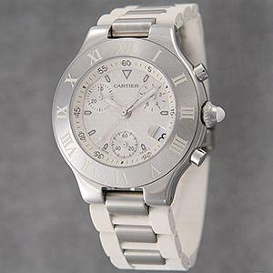 Cartier (カルティエ) メンズウォッチ W10184U2 クロノスカフ ホワイトラバー
