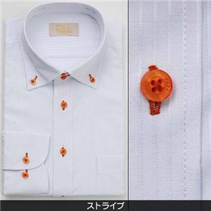 Falchi NewYork メンズ襟ワイドドレスシャツ F-D2W-OR ストライプ(#12) M 39-84 - 拡大画像