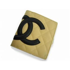 CHANEL シャネル A26720 BE/BK カンボン がま口 財布 ベージュ×ブラック
