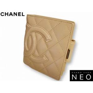 CHANEL シャネル A26720 (E) BE がま口 財布 カンボンライン×エナメル  ベージュ