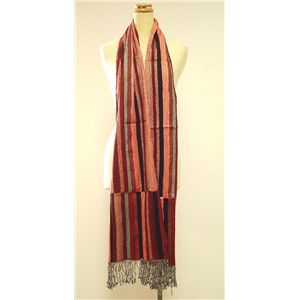 TOLANI(トラニ) Scarf with Stripes K-712 Red ストール