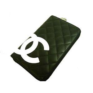 CHANEL(シャネル) A26710BK/WH カンボンライン ラウンドファースナー 財布