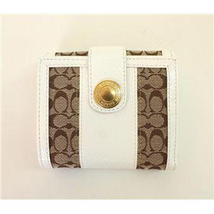 COACH(コーチ)エルゴパテントシグネチャー 41075 BKHWT ニューフレンチパース 2つ折財布 カーキ/ホワイト