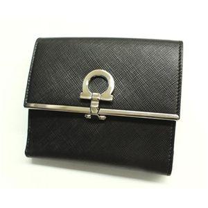 Salvatore Ferragamo(フェラガモ) 二つ折り財布 22-4639 NERO PEBBLE CALF