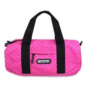 OUTDOOR(アウトドア) OUT243 ピンク 水玉ドット柄 スモール ドラムボストンショルダーバッグ