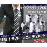 モノトーン系!タイトフィット形態安定ワイシャツ&ネクタイ10点セット