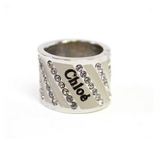 CHLOE(クロエ) 2R0179-AC3-119 クリアラインストーン リング ベージュ×シルバー  50
