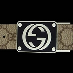 【¥46,980】Gucci(グッチ) BE-GUC-A0008154633-F06ZS ベルト ベージュ×ブラウン/シルバー BExBR/Silver