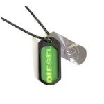 DIESEL(ディーゼル) 2009新作 SS新作 ドッグタグ ネックレス DX0016040 シルバー×グリーン【送料無料】