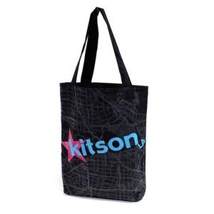 KITSON(キットソン) KHB0166 ロゴ <br />ショッピングエコ トートバッグ ブラック×ブルー