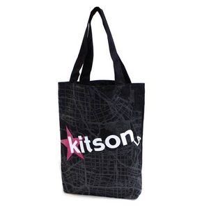 KITSON(キットソン) KHB0168 ロゴ ショッピングエコ トートバッグ ブラック×ホワイト - 拡大画像
