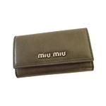 MIUMIU(ミュウミュウ) MIUMIU 5M0222 PIOMBO MORDORE' 6連キーケース メタリックグレー【送料無料】