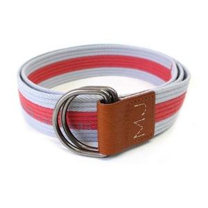 MARC BY MARC JACOBS(マークバイマークジェイコブス) ベルト Stripe Belt Cotton 96401 ストライプ コットン Grey/Red