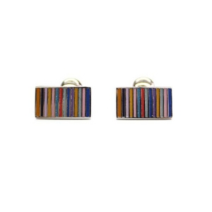 Cuffs(カフスボタン) カフリンクス マルチカラーエナメルレインボー Multi-colored Enamel Rainbow Silver Cufflinks 2009新作