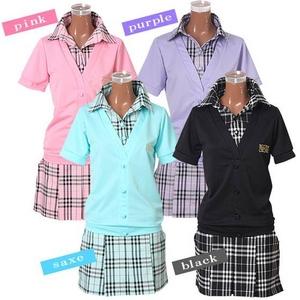 BLUE CRUSH(ブルークラッシュ) レディース ゴルフウエア 半袖リボン入り上下セット 半袖カーデタイプ スカート 500091 Lサイズ ブラックの写真1