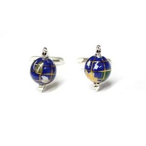 カフリンクス カフスボタン 地球儀カフス Silver Spinning globe Cufflinks