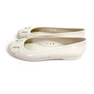 Gucci(グッチ) ラバーパンプス バレエシューズ ビットモチーフ 212543 J8700 9022 ホワイト 38(約24.0cm)