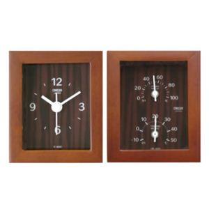 クレセル 天然木 時計・温度計・湿度計 CV-650C - 拡大画像