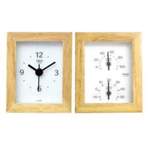 クレセル 天然木 時計・温度計・湿度計 CV-650W - 拡大画像