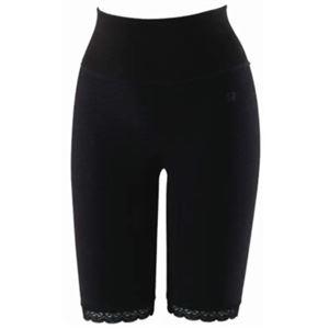 【訳あり・在庫処分】シルク混ゆったり編み五分丈パンツ ブラック