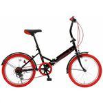 20インチ 折り畳み自転車カラータイヤモデル外装6段変速付 GFD-206TRD レッド