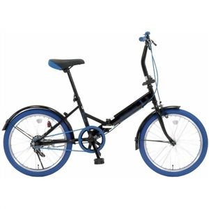 20インチ 折り畳み自転車カラータイヤモデル GFD-20TNBL ブルー - 拡大画像