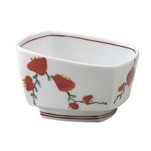 安寿 角小鉢 赤絵小花
