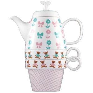 Shinzi Katoh Tea For Two ティーポット&カップ2個組 Teddy Bear C204 - 拡大画像