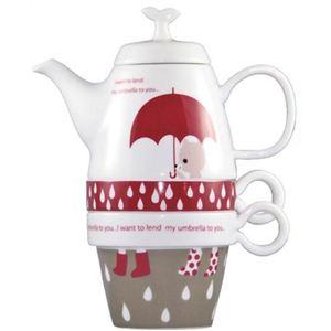 Shinzi Katoh Tea For Two ティーポット&カップ2個組 Rain Bear C212 - 拡大画像