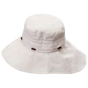 UVカットつば広レディース帽子 ベージュ - 拡大画像