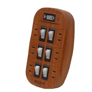 (お徳用 2セット) スマイルキッズ 雷ガード付 6口節電コンセント 木目タイプ・化粧箱仕様 ASW-017MO ×2セット - 拡大画像