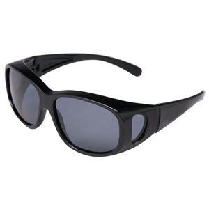 (まとめ買い)偏光オーバーサングラス ブラック×2セット