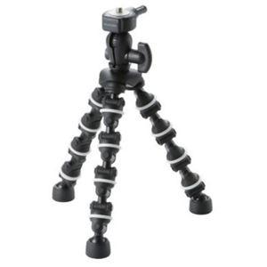 エレコム デジカメ用三脚(コンパクトデジタルカメラスタンド) どこでも三脚 ブラック DGT-015 - 拡大画像