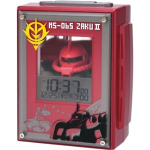 リズム時計 キャラクタークロック ガンダム アラームクロック ザク 赤メタリック 8RDA44RH01 - 拡大画像