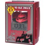 リズム時計 キャラクタークロック ガンダム アラームクロック ザク 赤メタリック 8RDA44RH01