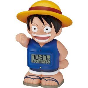 リズム時計 キャラクタークロック ワンピース 麦わらのルフィ 青 8RDA50RH04 - 拡大画像
