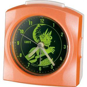 リズム時計 キャラクタークロック ワンピース モンキー・D・ルフィ オレンジパール色(集光樹脂) 4SE436MN14 - 拡大画像