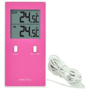 ドリテック 室内室外温度計 レクタ ピンク O-236PK - 拡大画像