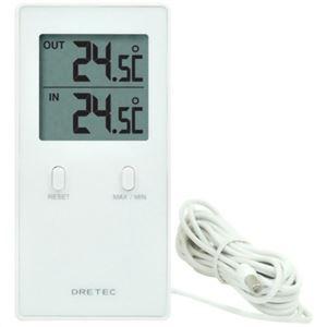 ドリテック 室内室外温度計 レクタ ホワイト O-236WT - 拡大画像