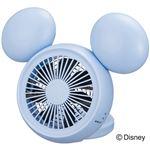ディズニー ミッキー型 コンパクトデスク扇風機(卓上扇風機) 3電源 ミラー・アロマケース付 ブルー NPM-1084U-BL