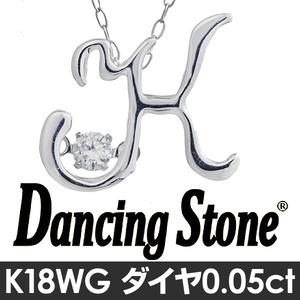 ダンシングストーン K18WG・天然ダイヤモンドシリーズイニシャル「K」ペンダント/ネックレス h02