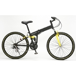 WACHSEN(ヴァクセン) 折り畳み自転車 BM200-BYL 26インチ 18段変速 ブラック/イエロー (マウンテンバイク)【送料無料】