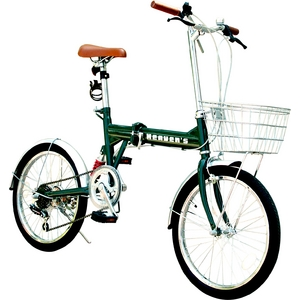 HEAVEN's(ヘブンズ) 20インチ折り畳み自転車 BF-K206 シマノ6段変速モデル グリーン - 拡大画像