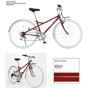 PRIMARY(プライマリー) 6段変速 クロスバイク BGC-700-RD レッド+折りたたみバスケット+ワイヤーロック+LEDライト - 拡大画像