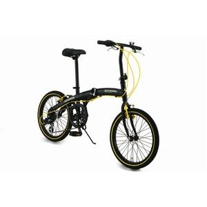WACHSEN(ヴァクセン) アルミ折り畳み自転車 20インチ BA-100 ブラック&イエロー 自転車用アクセサリ4種セット付き - 拡大画像