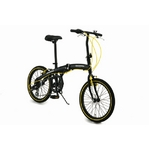WACHSEN(ヴァクセン) アルミ折り畳み自転車 20インチ BA-100 ブラック&イエロー 自転車用アクセサリ4種セット付き【送料無料】