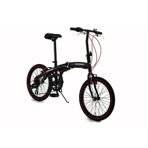 【送料無料】 WACHSEN(ヴァクセン) アルミ折り畳み自転車 20インチ BA-100 ブラック&レッド 自転車用アクセサリー4種セット